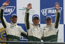 Podium GT1: troisième place Christophe Bouchut, Fabrizio Gollin, Casper Elgaard