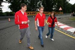 Adam Carroll and Vanina Ickx walk the track