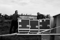 Audi Sport team members unload a transporter