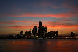 The Detroit skyline from the Canadian side of the river