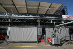 Team HWA AMG Mercedes pitbox area is blocked by shields