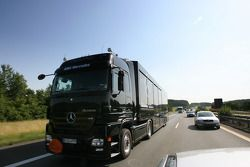 On the way to the Norisring: an unexpected encounter on the A6, the Team HWA AMG Mercedes transporters with Bruno Spengler's racing cars