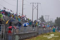Fans brave the elements