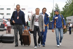 Heikki Kovalainen, Renault F1 Team and Nelson A. Piquet, Test Driver, Renault F1 Team arrive