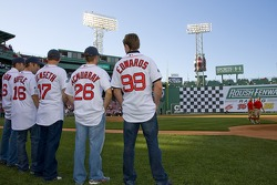 The Roush Fenway Racing drivers at Fenway Park in Boston: David Regan, Greg Biffle, Matt Kenseth, Jamie McMurray and Carl Edwards