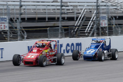 Dustin Morgan (#11D) and Dave Darland (#44) draft down the back stretch