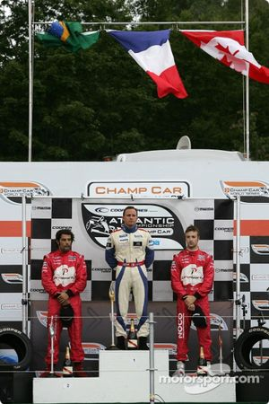 Podium: race winner Franck Perera with Raphael Matos and James Hinchcliffe