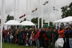 Crowds wait in anticipation for Lewis Hamilton