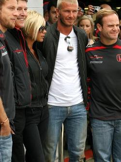 Jenson Button, Honda Racing F1 Team , Victoria y David Beckham, Rubens Barrichello, Honda Racing F1