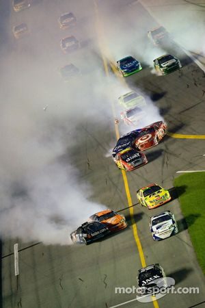 Tony Stewart and Denny Hamlin tangle up in the tri-oval