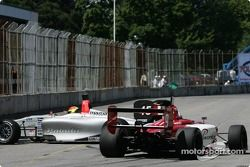 James Hinchcliffe barely avoids Adrian Herberts after his spin