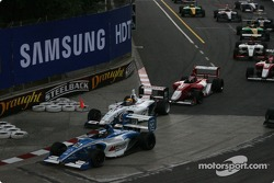 First corner: Jonathan Bomarito takes the lead over Franck Perera
