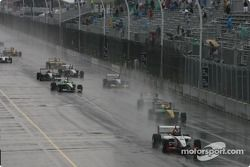 J.R. Hildebrand leads a group of cars under yellow