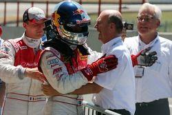 Dr. Wolfgang Ullrich, Audi's Head of Sport, congratulates Mattias Ekström, Audi Sport Team Abt Spor