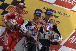 Podium: race winner Dani Pedrosa with Loris Capirossi and Nicky Hayden