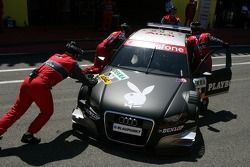 Audi mechanics push the car of Christian Abt, Audi Sport Team Phoenix, Audi A4 DTM, back into the pi