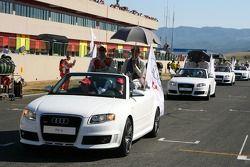 Parade des pilotes, avec Tom Kristensen, Audi Sport Team Abt Sportsline, Audi A4 DTM et Timo Scheide