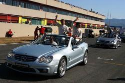 Parade des pilotes, avec Jamie Green, Team HWA AMG Mercedes et Bruno Spengler, Team HWA AMG Mercedes