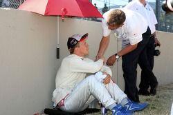 Mattias Ekström, Audi Sport Team Abt Sportsline, reçoit un bonne chance avant la course