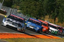 Bernd Schneider, Team HWA AMG Mercedes, AMG Mercedes C-Klasse, leads Gary Paffett, Persson Motorspor