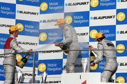 Podium: Mika Häkkinen, Team HWA AMG Mercedes, Mattias Ekström, Audi Sport Team Abt Sportsline, Paul di Resta, Persson Motorsport AMG Mercedes