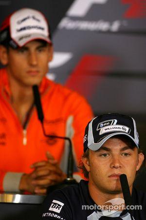 Пресс-конференция FIA: Нико Росберг, WilliamsF1 Team, и Адриан Сутиль, Spyker F1 Team