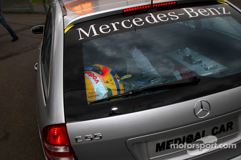 The helmet of Lewis Hamilton, McLaren Mercedes in the back of the F1 Medical car