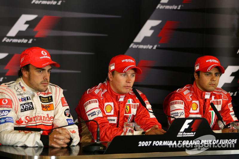 FIA press conference: Fernando Alonso, McLaren Mercedes, Pole winner Kimi Raikkonen, Scuderia Ferrar