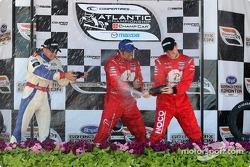 Podium: race winner Raphael Matos with Franck Perera and James Hinchcliffe
