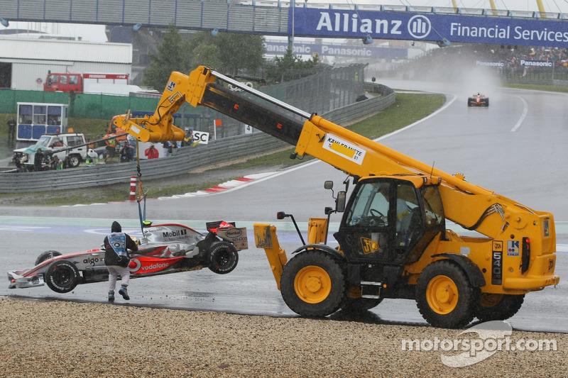 Lewis Hamilton, McLaren Mercedes, MP4-22, returns to the circuit