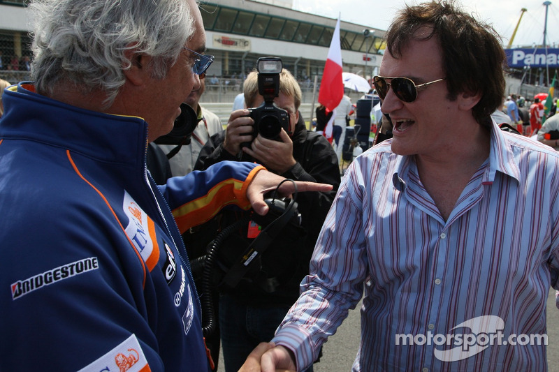 Flavio Briatore, director de Renault F1 Team, con Quentin Tarantino, director de cine