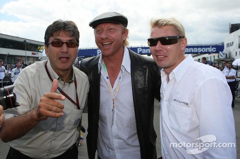 Pasquale Lattuneddu, FOM; Boris Becker; Mika Hakkinen