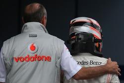 Race winner Fernando Alonso with Ron Dennis