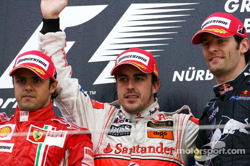2007: 1. Fernando Alonso, 2. Felipe Massa, 3. Mark Webber