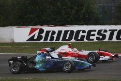 Jenson Button, Honda Racing F1 Team; Jarno Trulli, Toyota Racing
