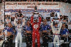 Podium: race winner Raphael Matos with Jonathan Bomarito and Franck Perera