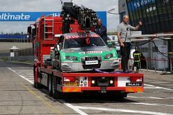 The wrecked TME, Audi A4 DTM of Vanina Ickx after her accident at the Scheivlak corner