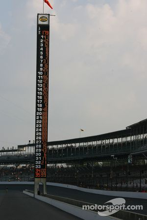 The Indianapolis Motor Speedway Pylon displays the Allstate 400 qualification order
