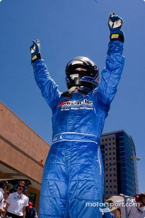 Jonathan Bomarito celebrates his pole position