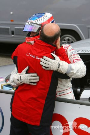 Dr. Wolfgang Ullrich, Audi's Head of Sport, thanks Alexandre Premat, Audi Sport Team Phoenix, for le