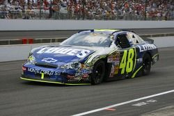 Jimmie Johnson in the pits for damage repair