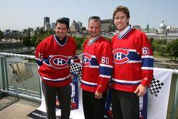 Conférence de presse pré-événement: Patrick Carpentier, Pierre Kuettel et Carl Edwards reçoivent un maillot du club de hockey Canadiens de Montréal