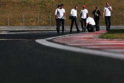 Track walk: Lewis Hamilton, McLaren Mercedes
