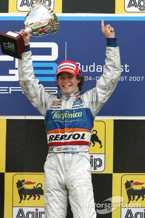 Podium: race winner Javier Villa celebrates