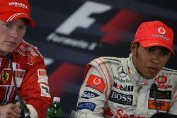 Press conference: race winner Lewis Hamilton with second place Kimi Raikkonen