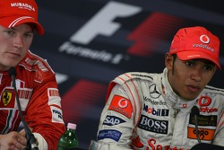 Press conference: race winner Lewis Hamilton with second place Kimi Raikkonen