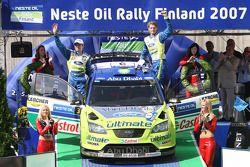 Podium: winners Marcus Gronholm and Timo Rautiainen celebrate