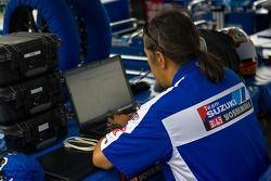 Team Suzuki membre de l'équipage travaille sur les données