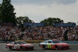 Jeff Gordon and Carl Edwards battle on a restart