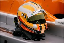 The helmet of Marcus Ericsson of Fortec Motorsport who won both Formula BMW UK races at Brands Hatch